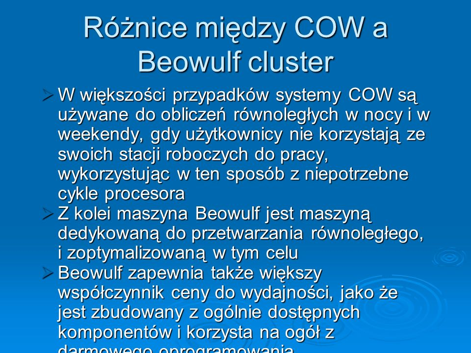 Różnice między COW a Beowulf cluster