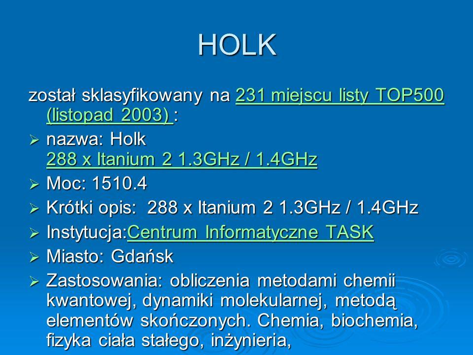HOLK został sklasyfikowany na 231 miejscu listy TOP500 (listopad 2003) : nazwa: Holk 288 x Itanium 2 1.3GHz / 1.4GHz.