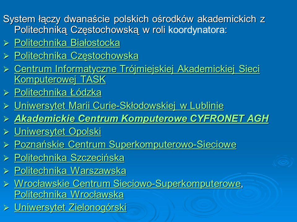 System łączy dwanaście polskich ośrodków akademickich z Politechniką Częstochowską w roli koordynatora: