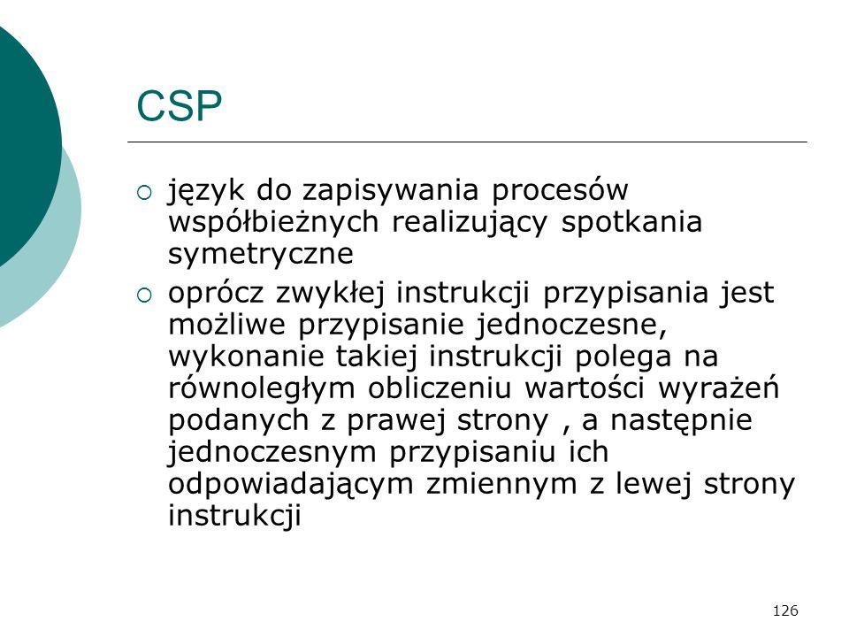 CSP język do zapisywania procesów współbieżnych realizujący spotkania symetryczne.