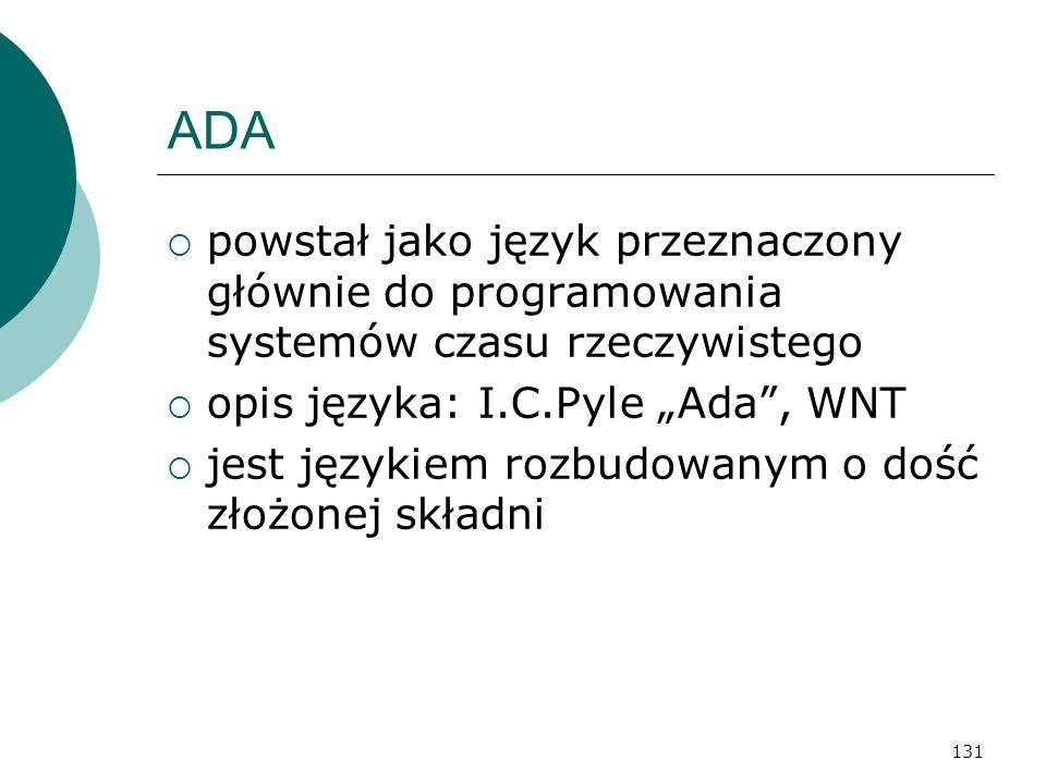 """ADA powstał jako język przeznaczony głównie do programowania systemów czasu rzeczywistego. opis języka: I.C.Pyle """"Ada , WNT."""