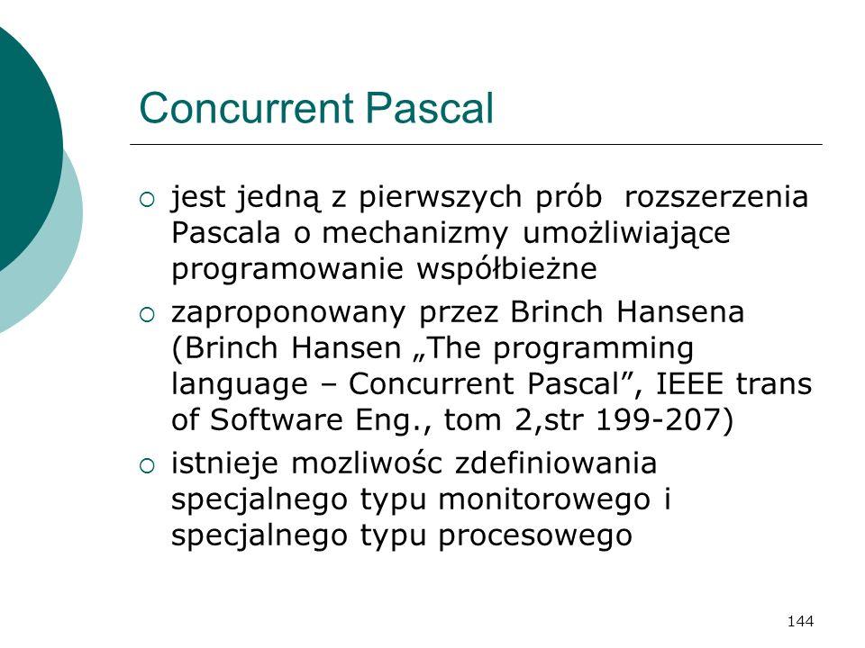 Concurrent Pascal jest jedną z pierwszych prób rozszerzenia Pascala o mechanizmy umożliwiające programowanie współbieżne.