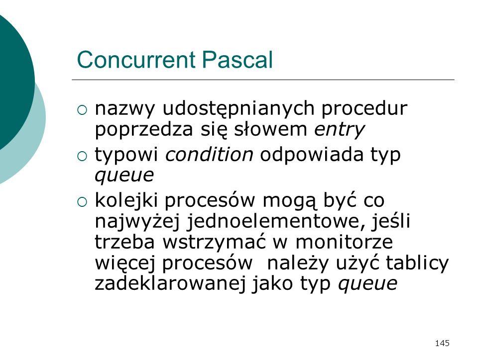 Concurrent Pascal nazwy udostępnianych procedur poprzedza się słowem entry. typowi condition odpowiada typ queue.