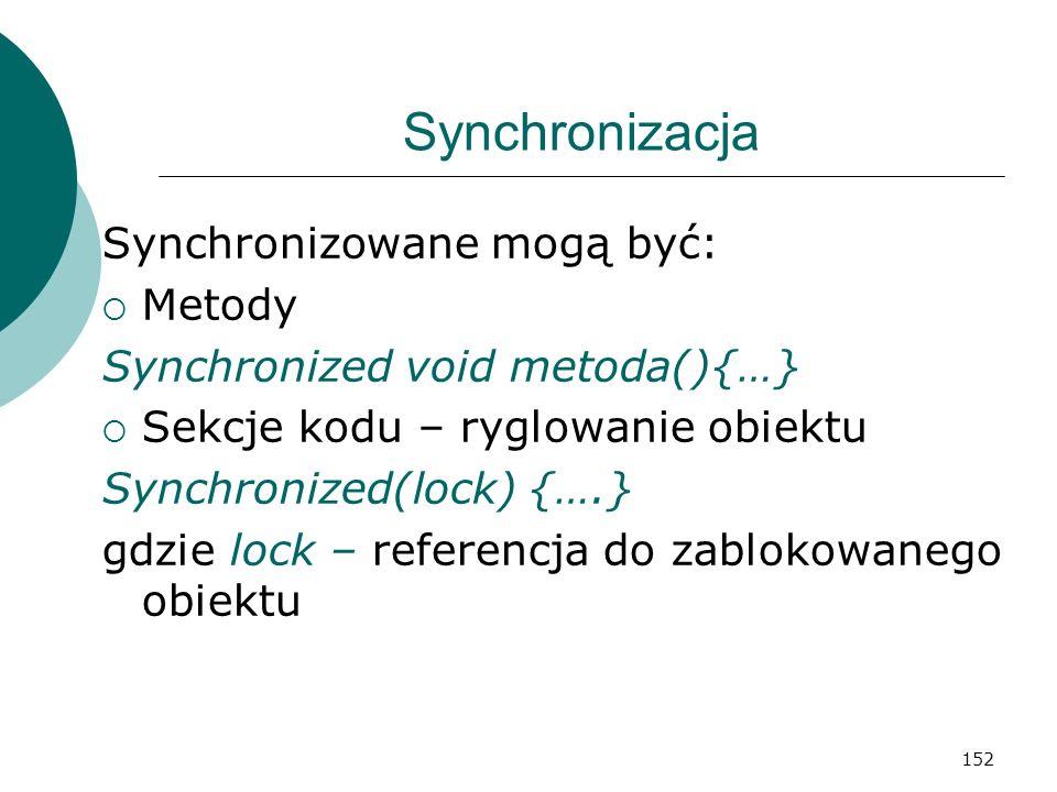 Synchronizacja Synchronizowane mogą być: Metody