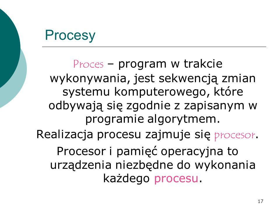 Realizacja procesu zajmuje się procesor.