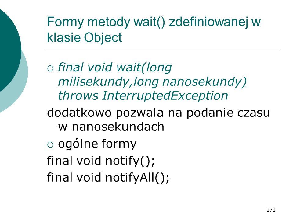 Formy metody wait() zdefiniowanej w klasie Object