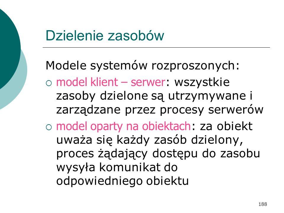Dzielenie zasobów Modele systemów rozproszonych: