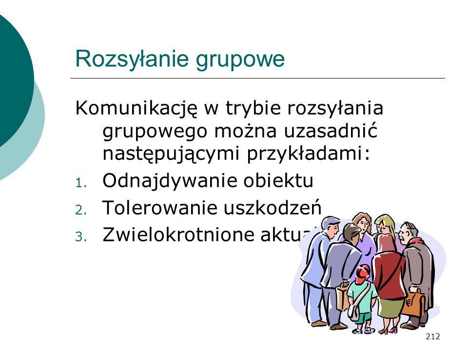 Rozsyłanie grupowe Komunikację w trybie rozsyłania grupowego można uzasadnić następującymi przykładami: