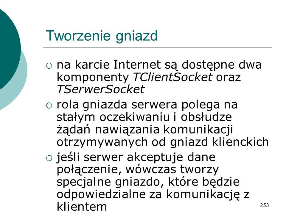 Tworzenie gniazd na karcie Internet są dostępne dwa komponenty TClientSocket oraz TSerwerSocket.