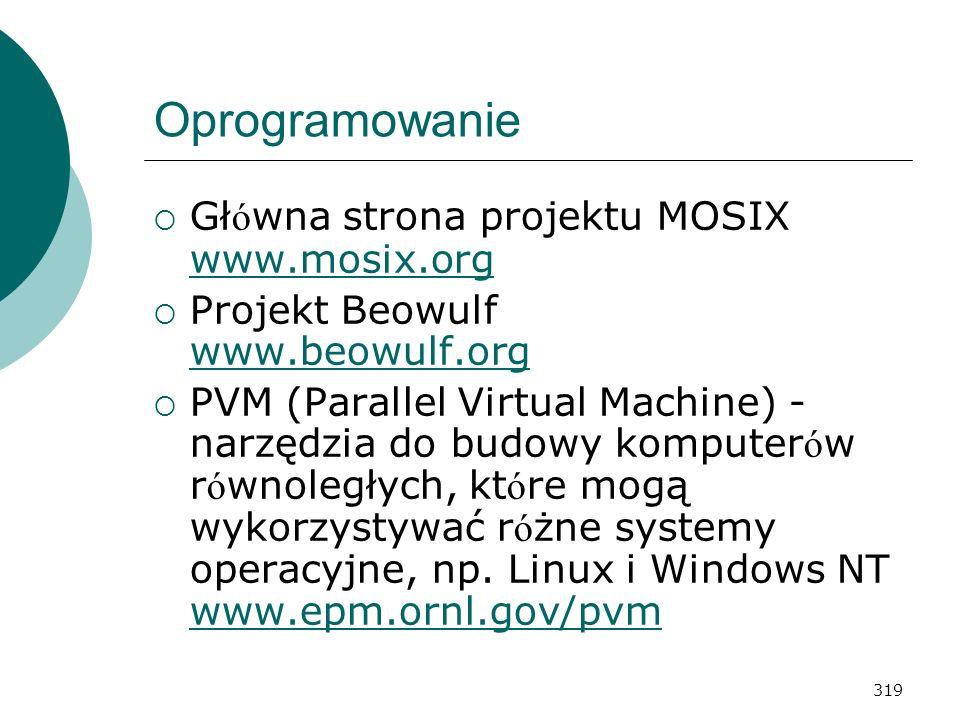 Oprogramowanie Główna strona projektu MOSIX www.mosix.org