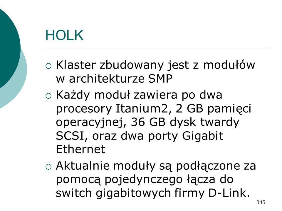 HOLK Klaster zbudowany jest z modułów w architekturze SMP