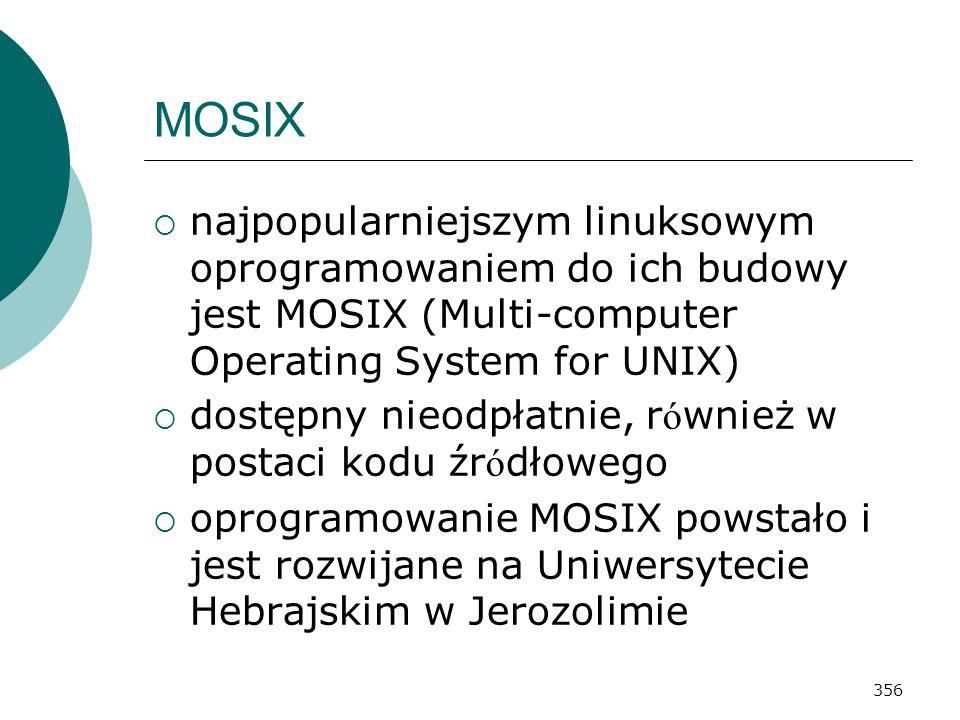 MOSIX najpopularniejszym linuksowym oprogramowaniem do ich budowy jest MOSIX (Multi-computer Operating System for UNIX)