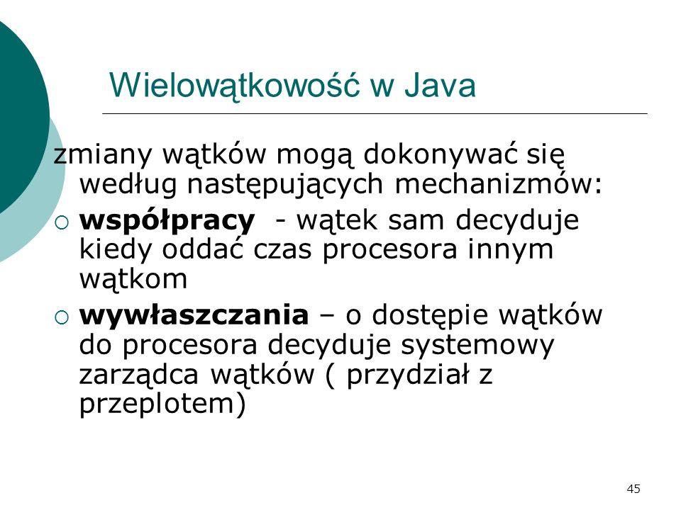 Wielowątkowość w Java zmiany wątków mogą dokonywać się według następujących mechanizmów: