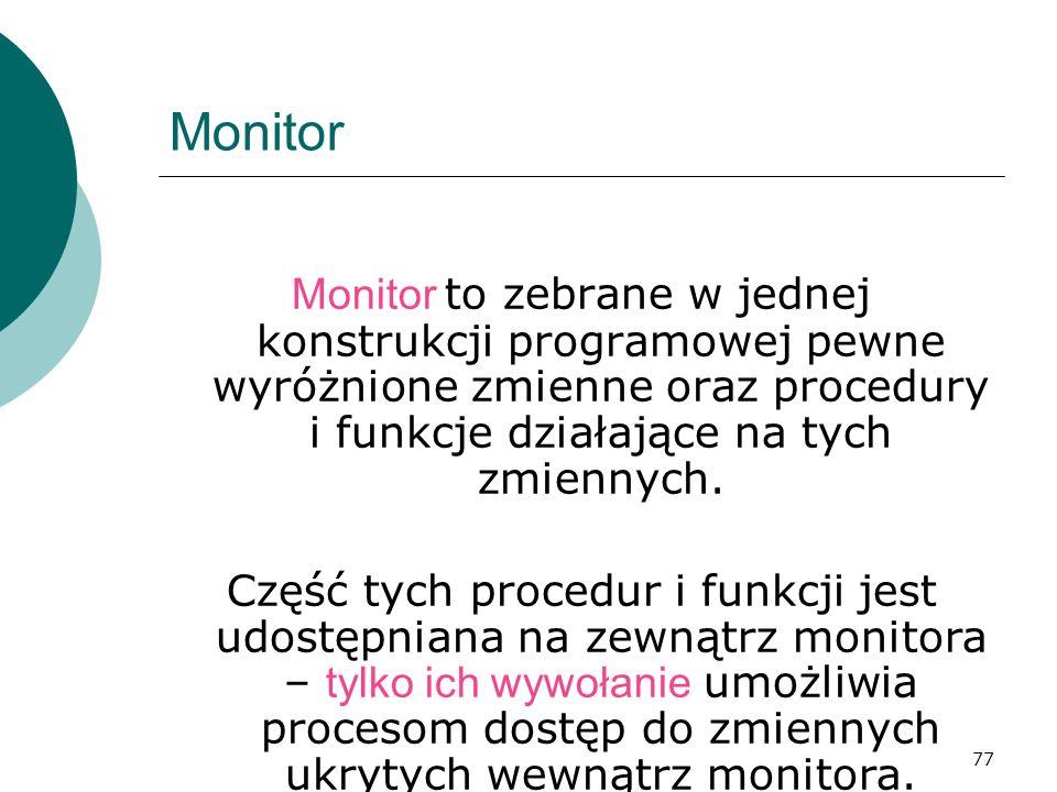 Monitor Monitor to zebrane w jednej konstrukcji programowej pewne wyróżnione zmienne oraz procedury i funkcje działające na tych zmiennych.