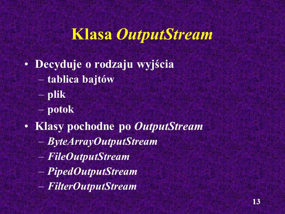 Klasa OutputStream Decyduje o rodzaju wyjścia