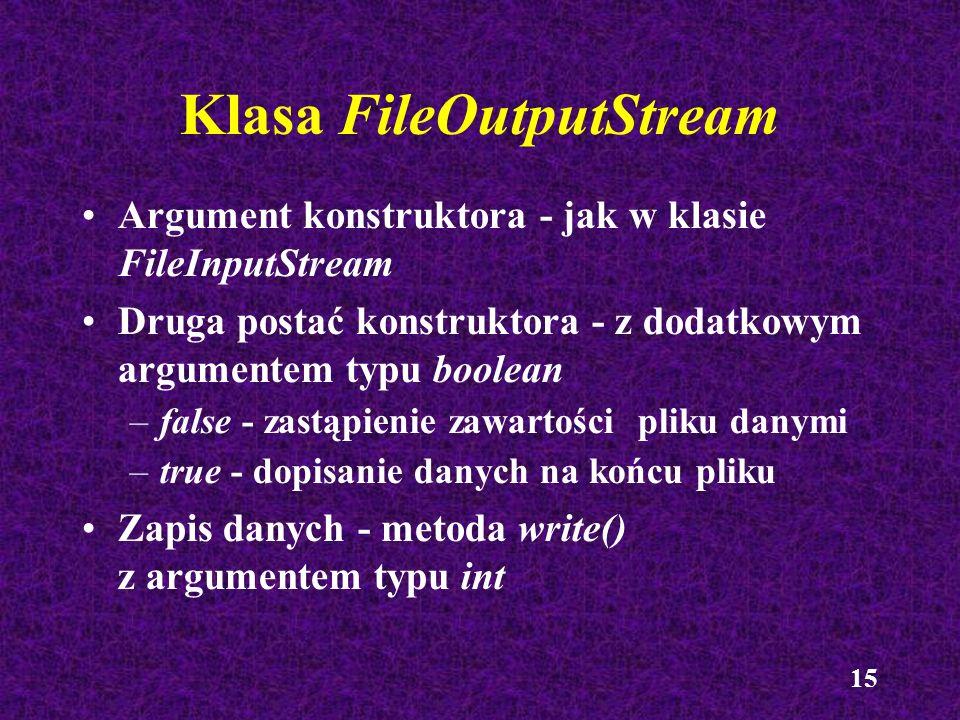 Klasa FileOutputStream