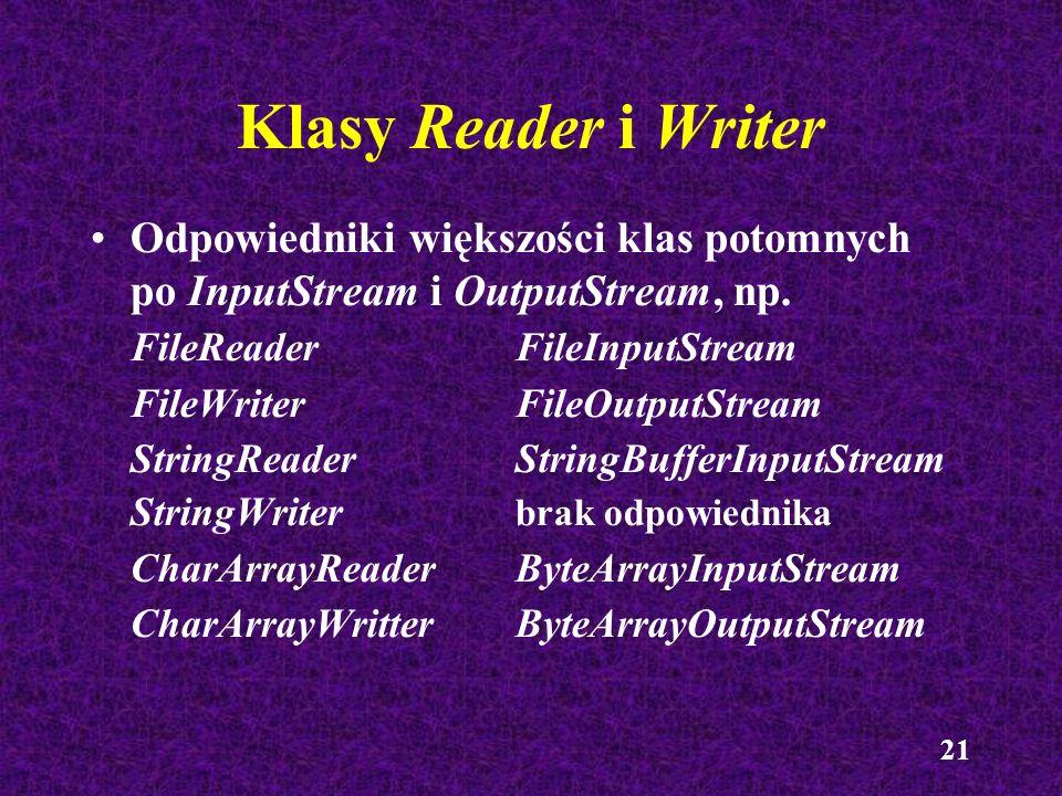 Klasy Reader i Writer Odpowiedniki większości klas potomnych po InputStream i OutputStream, np. FileReader FileInputStream.