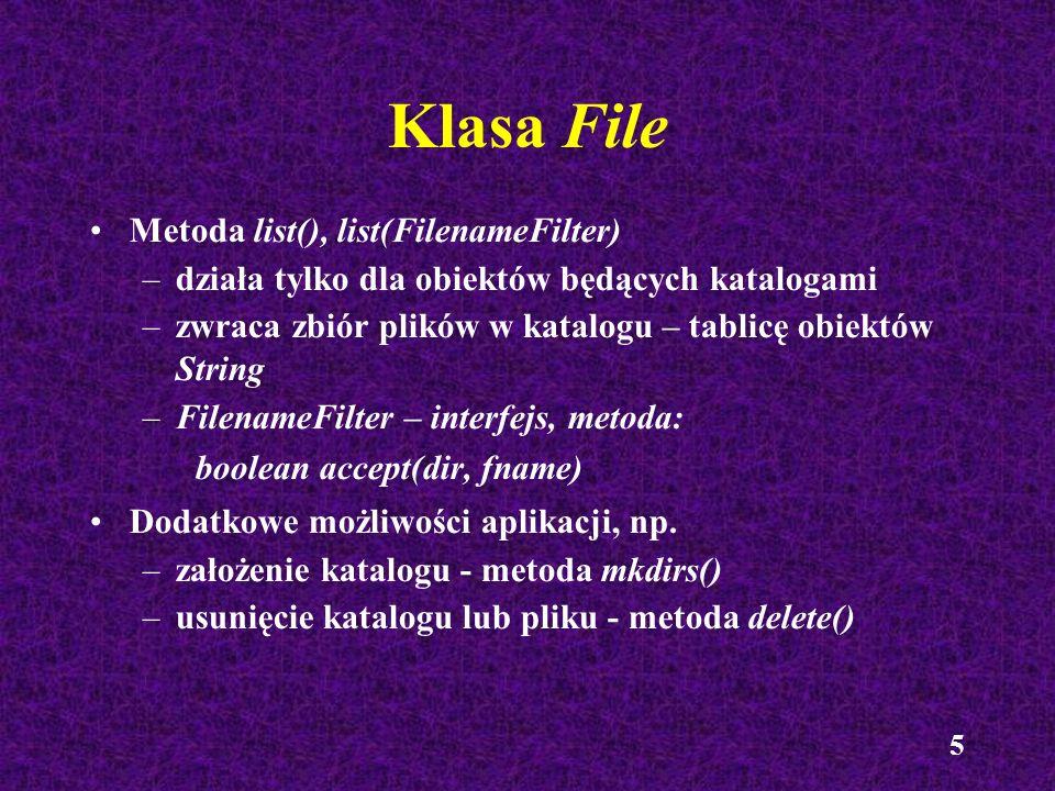 Klasa File Metoda list(), list(FilenameFilter)