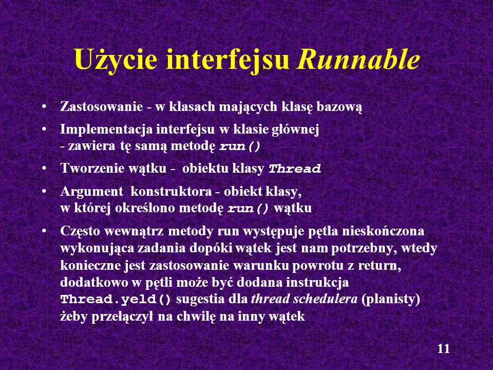 Użycie interfejsu Runnable