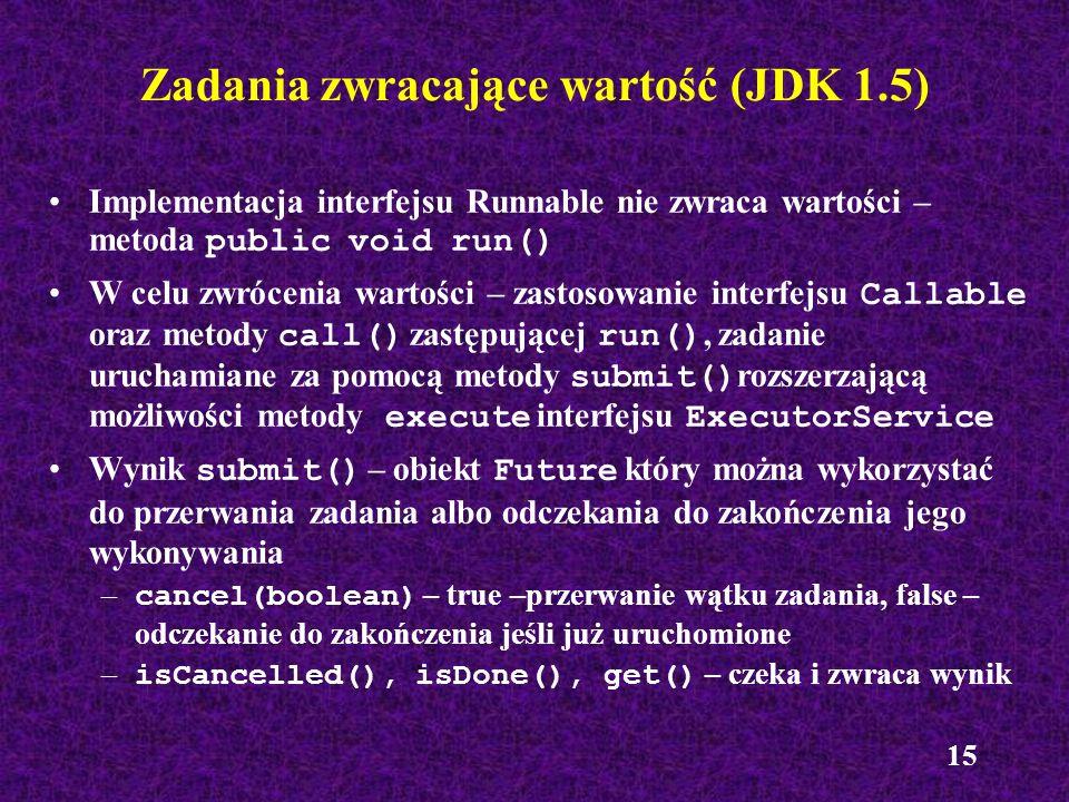 Zadania zwracające wartość (JDK 1.5)