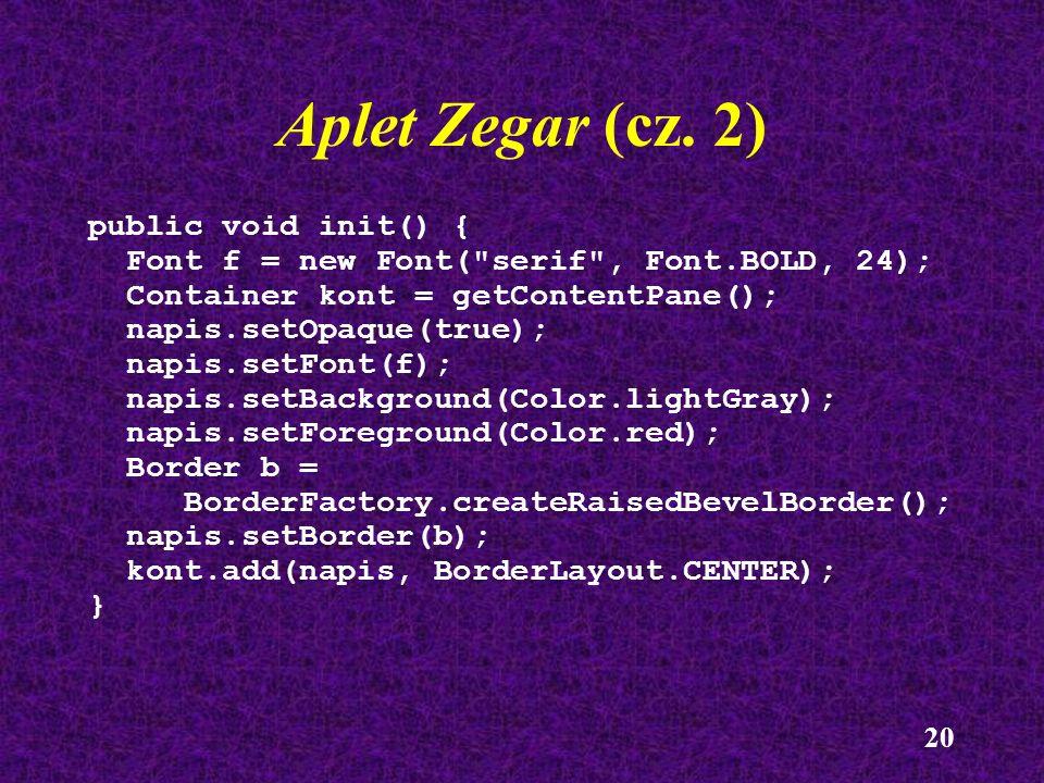 Aplet Zegar (cz. 2) public void init() {
