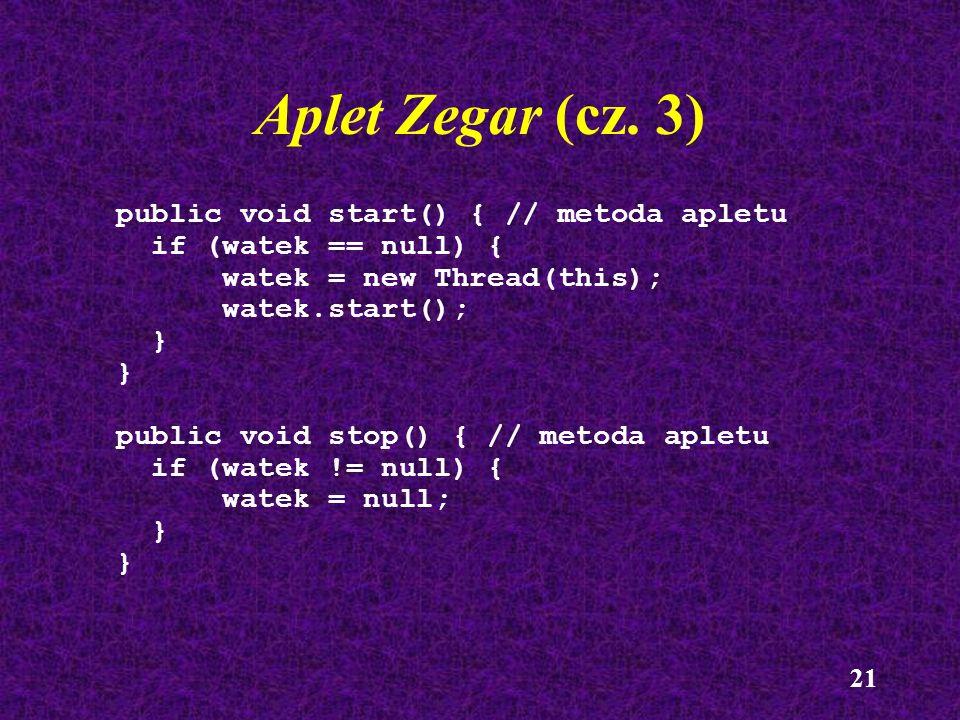 Aplet Zegar (cz. 3) public void start() { // metoda apletu