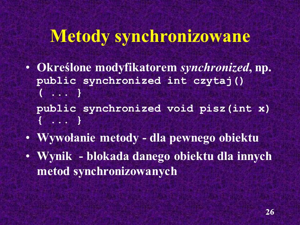 Metody synchronizowane