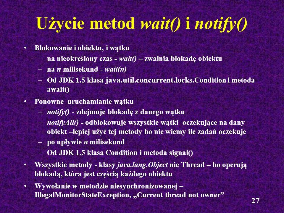 Użycie metod wait() i notify()