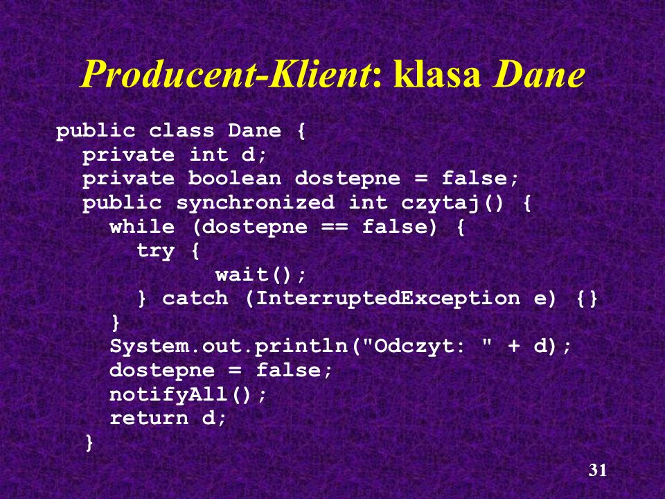 Producent-Klient: klasa Dane