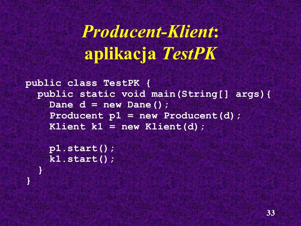 Producent-Klient: aplikacja TestPK