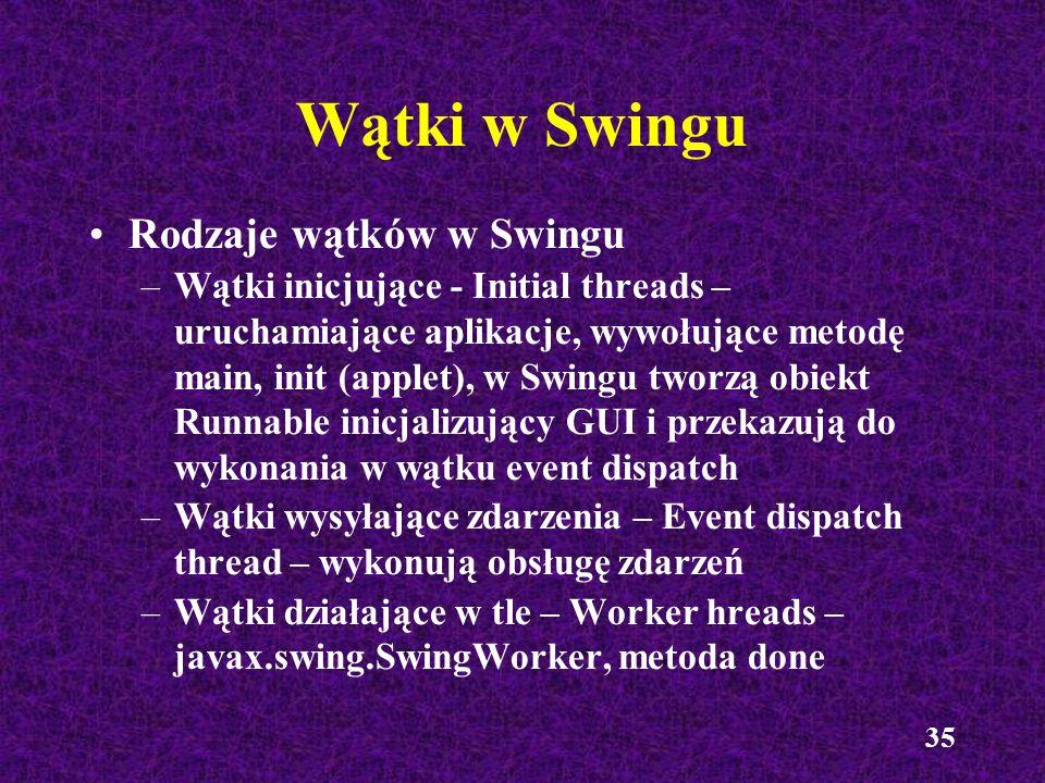 Wątki w Swingu Rodzaje wątków w Swingu