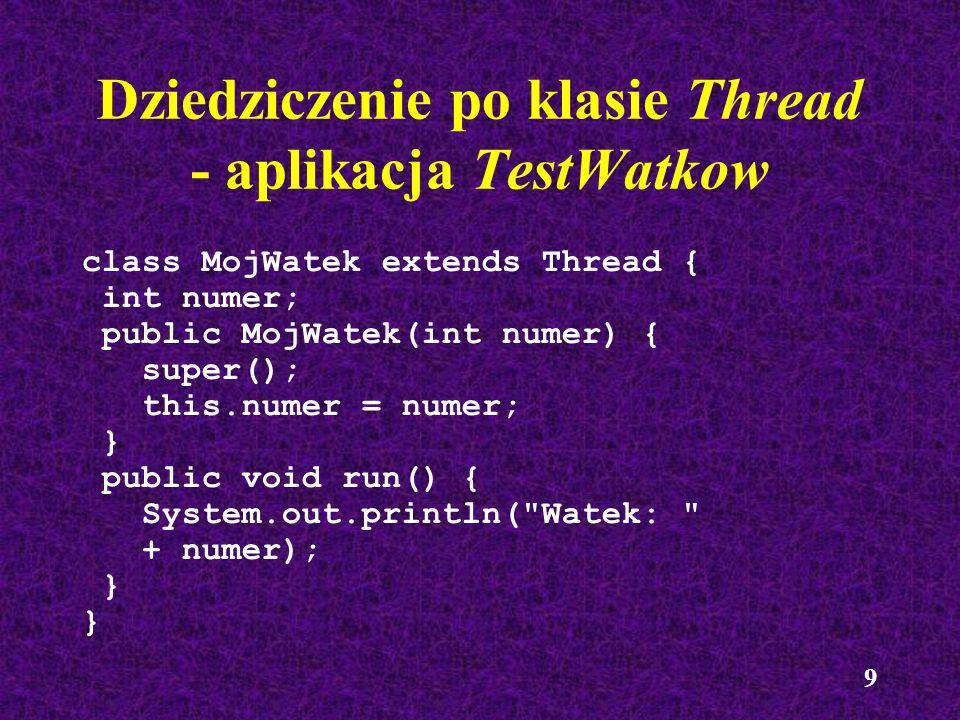 Dziedziczenie po klasie Thread - aplikacja TestWatkow