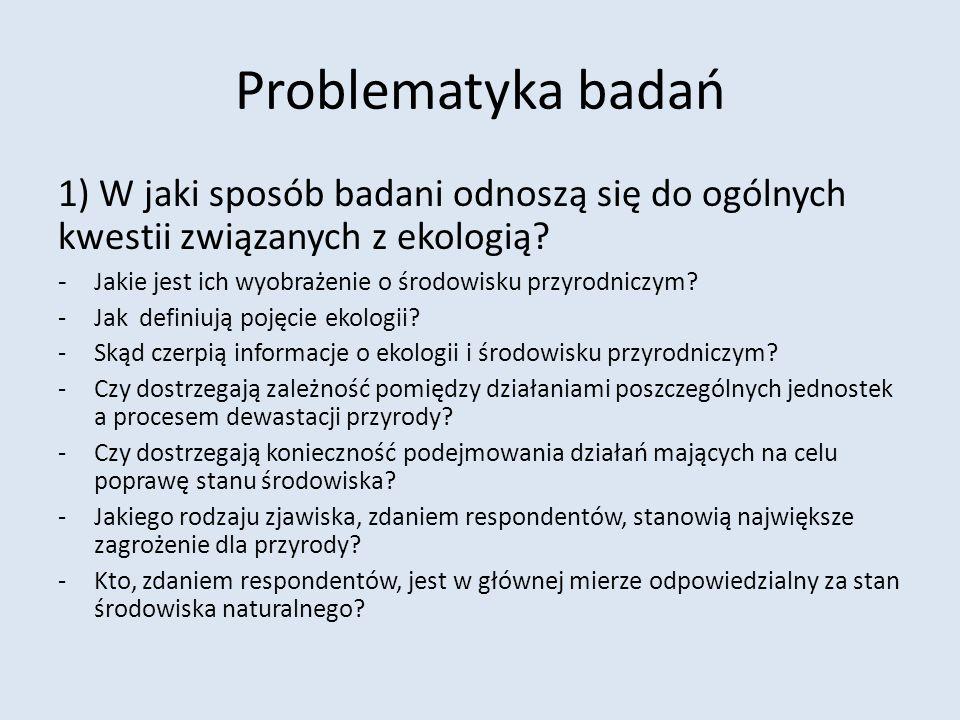 Problematyka badań 1) W jaki sposób badani odnoszą się do ogólnych kwestii związanych z ekologią