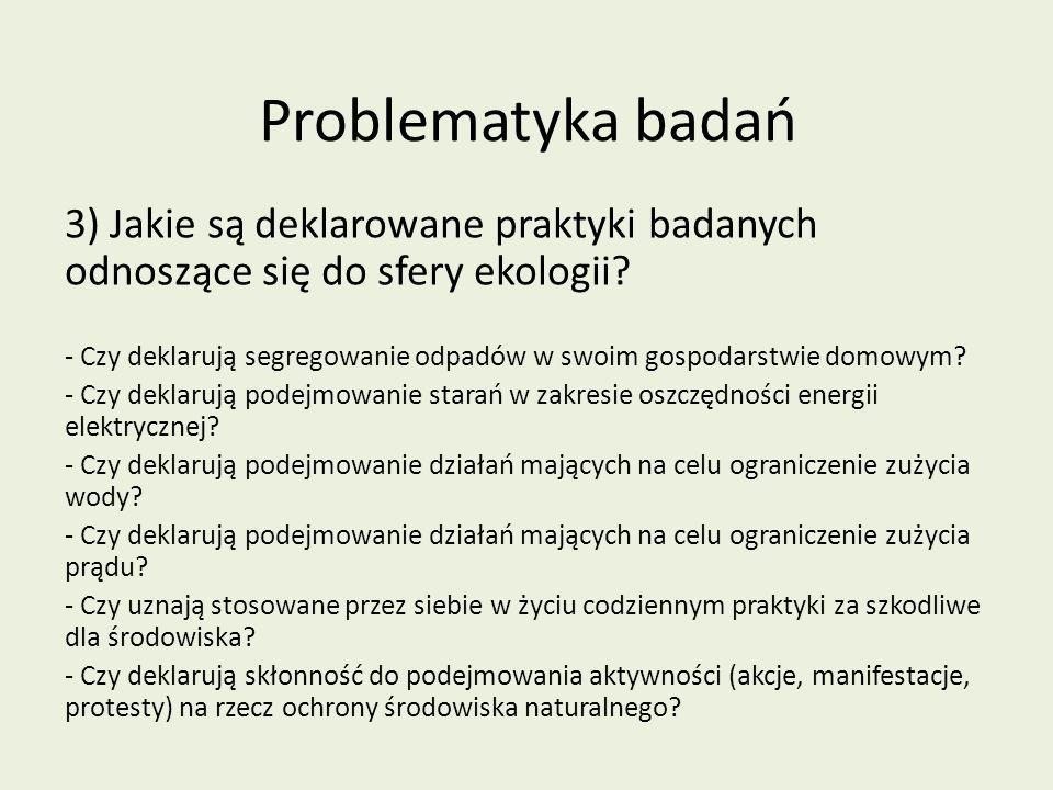 Problematyka badań 3) Jakie są deklarowane praktyki badanych odnoszące się do sfery ekologii