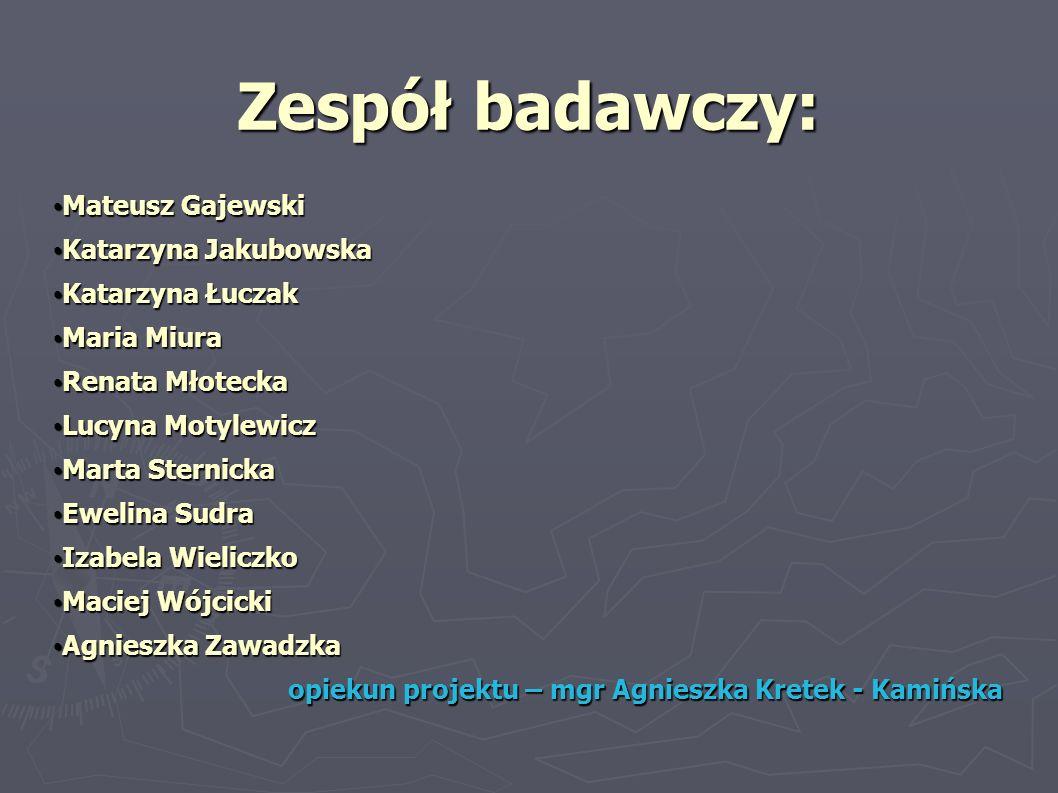 Zespół badawczy: Mateusz Gajewski Katarzyna Jakubowska