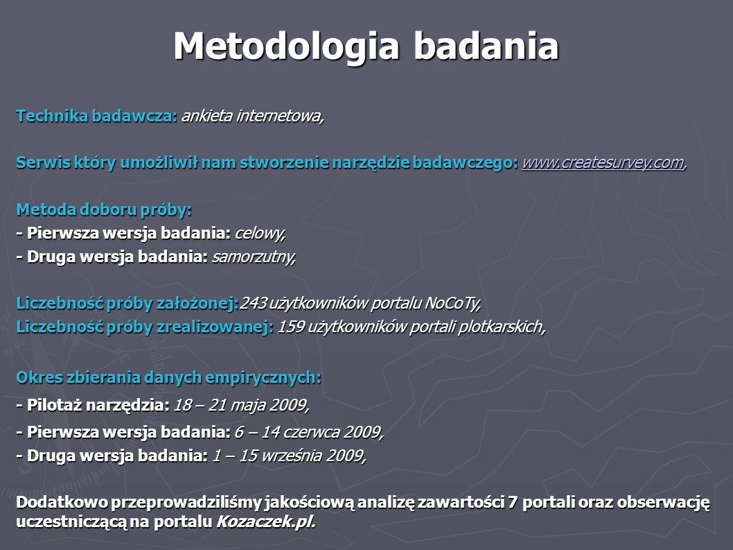 Metodologia badania Technika badawcza: ankieta internetowa,