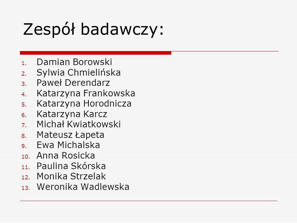 Zespół badawczy: Damian Borowski Sylwia Chmielińska Paweł Derendarz