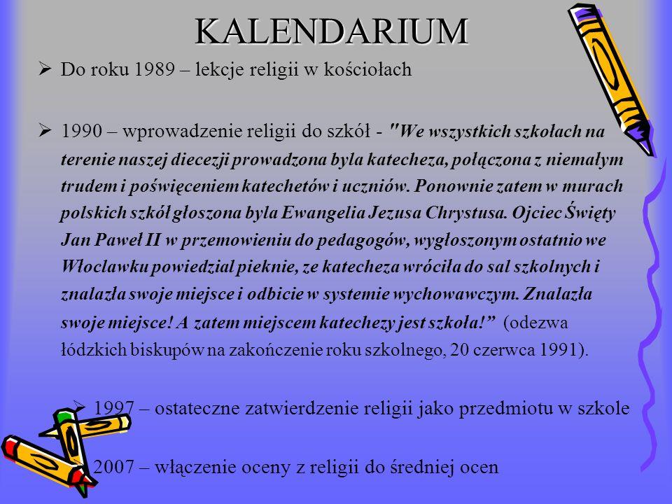 KALENDARIUM Do roku 1989 – lekcje religii w kościołach
