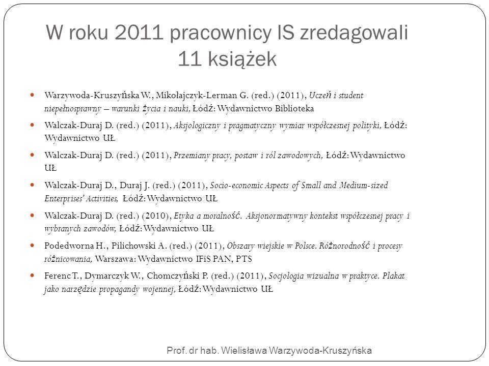 W roku 2011 pracownicy IS zredagowali 11 książek