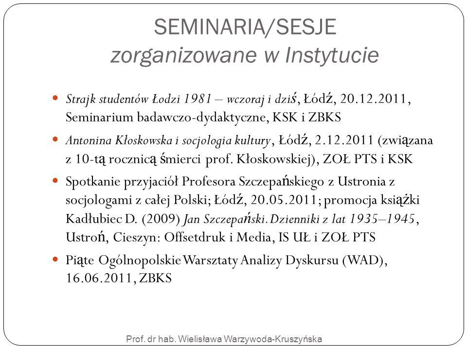 SEMINARIA/SESJE zorganizowane w Instytucie
