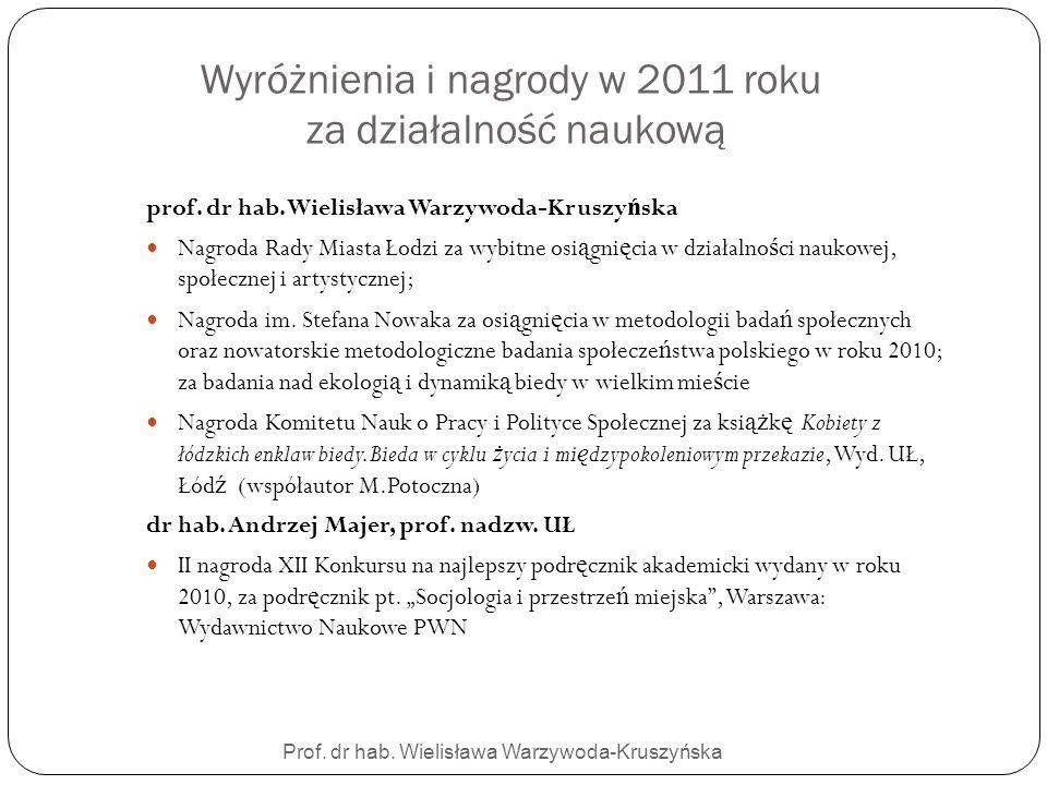 Wyróżnienia i nagrody w 2011 roku za działalność naukową
