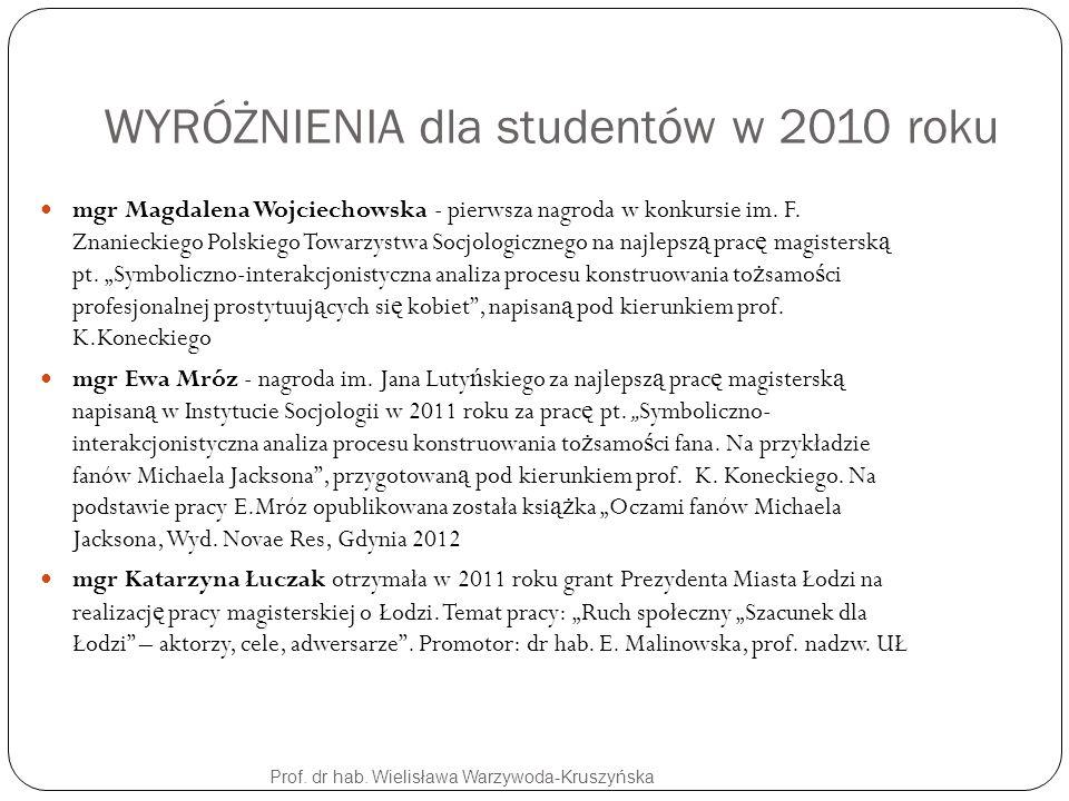 WYRÓŻNIENIA dla studentów w 2010 roku