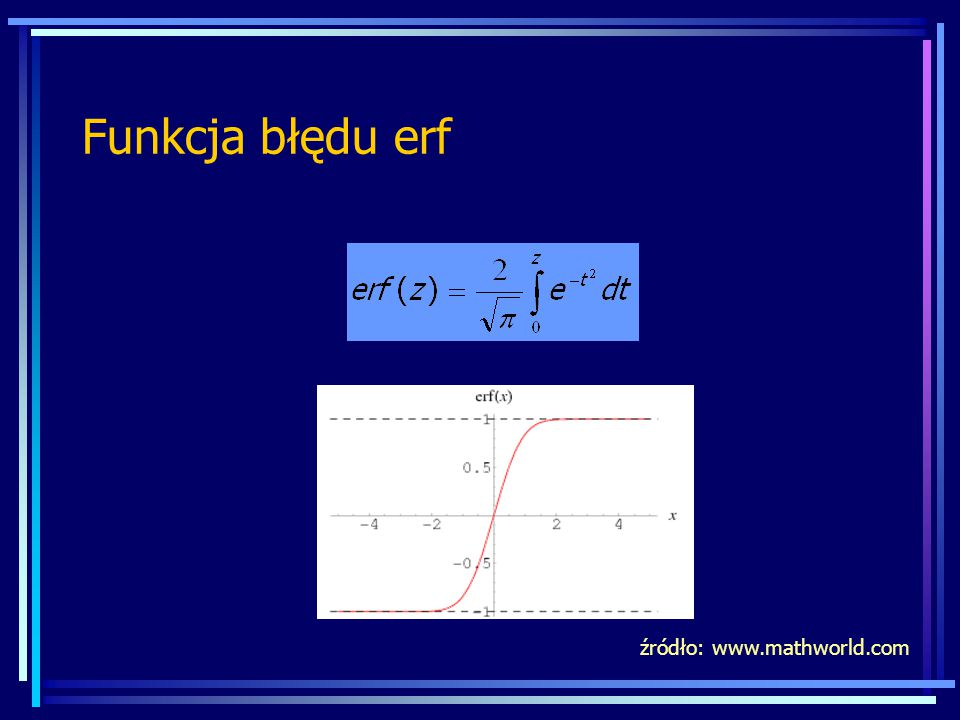 Funkcja błędu erf źródło: www.mathworld.com