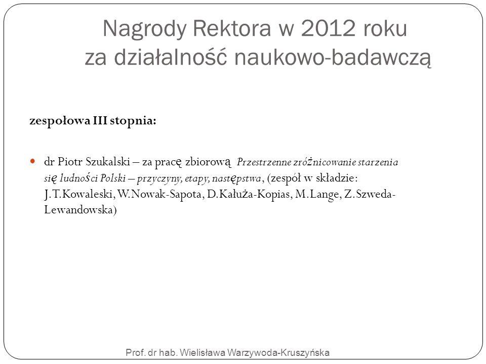 Nagrody Rektora w 2012 roku za działalność naukowo-badawczą