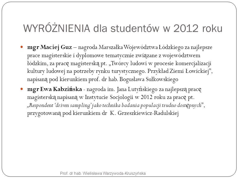 WYRÓŻNIENIA dla studentów w 2012 roku