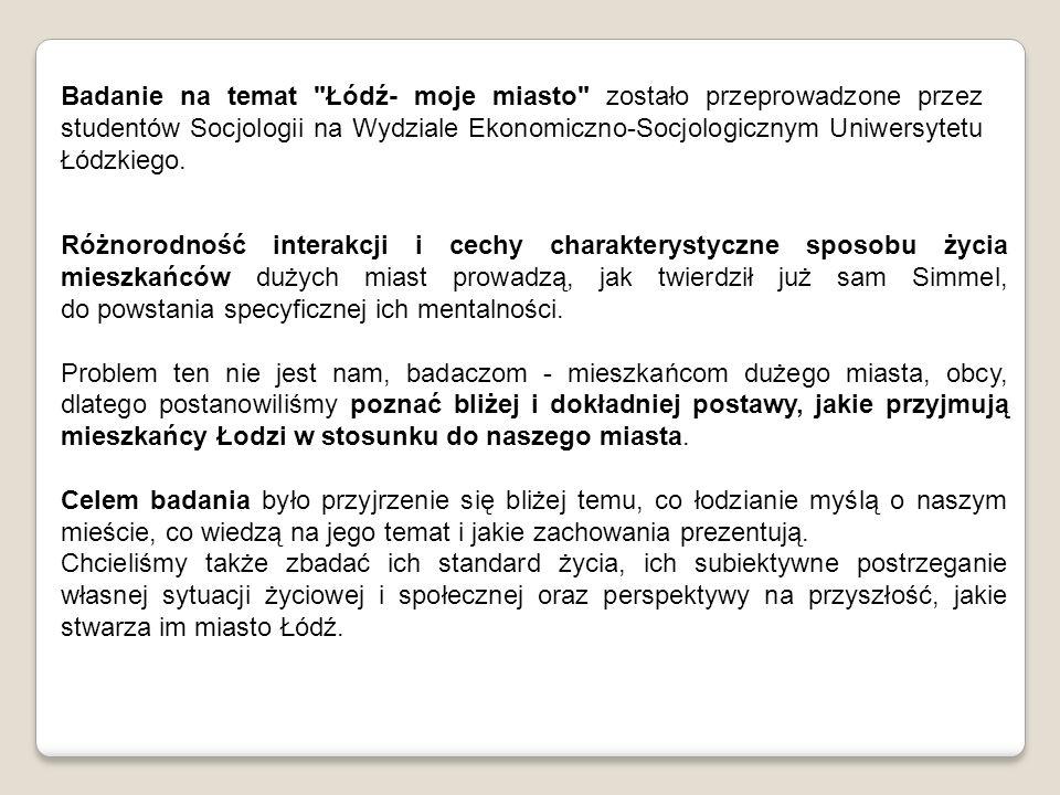 Badanie na temat Łódź- moje miasto zostało przeprowadzone przez studentów Socjologii na Wydziale Ekonomiczno-Socjologicznym Uniwersytetu Łódzkiego.