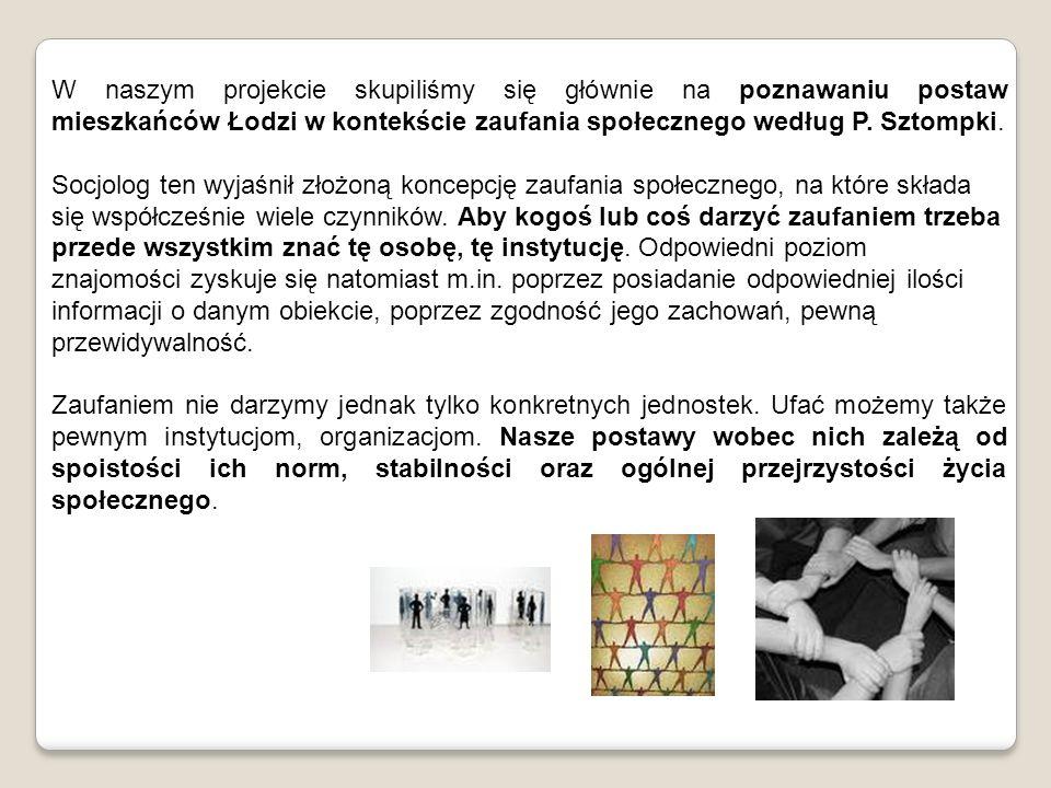 W naszym projekcie skupiliśmy się głównie na poznawaniu postaw mieszkańców Łodzi w kontekście zaufania społecznego według P. Sztompki.