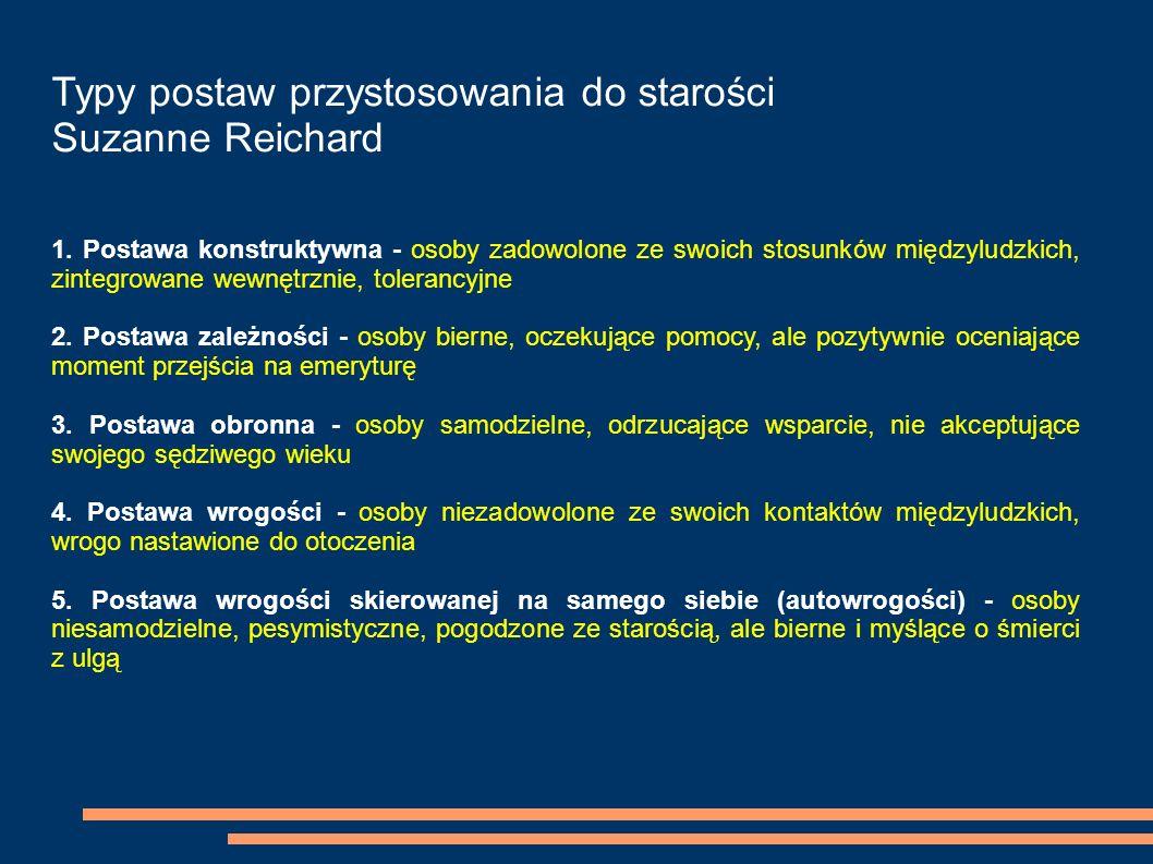 Typy postaw przystosowania do starości Suzanne Reichard
