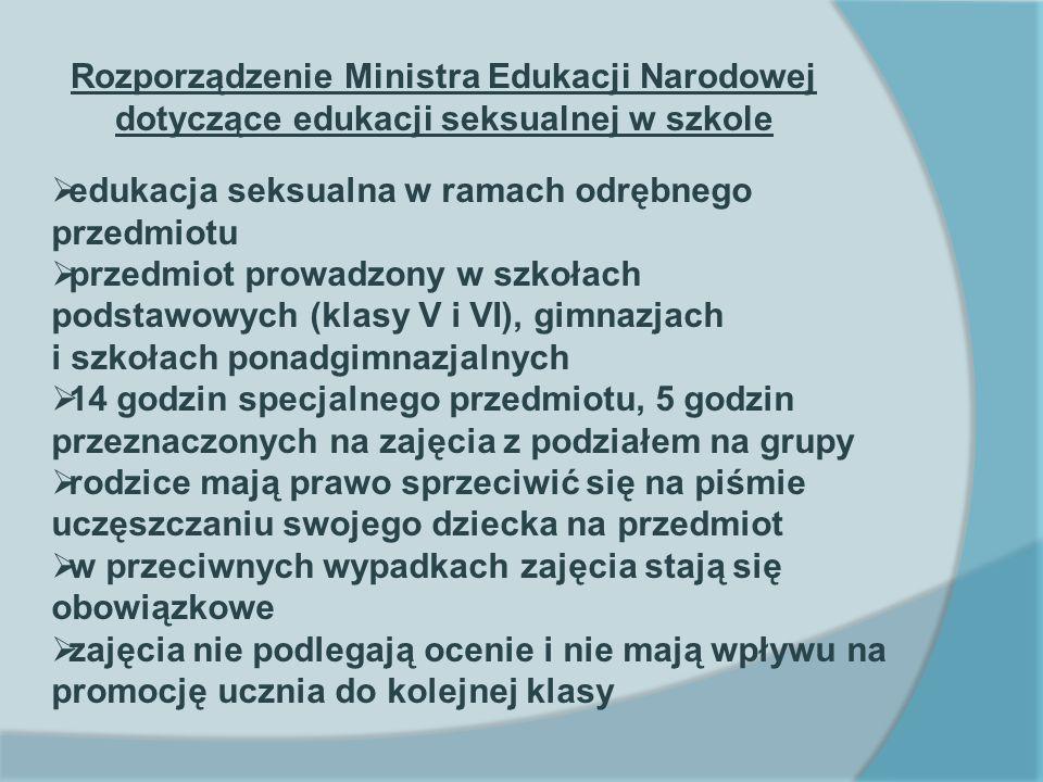 Rozporządzenie Ministra Edukacji Narodowej dotyczące edukacji seksualnej w szkole