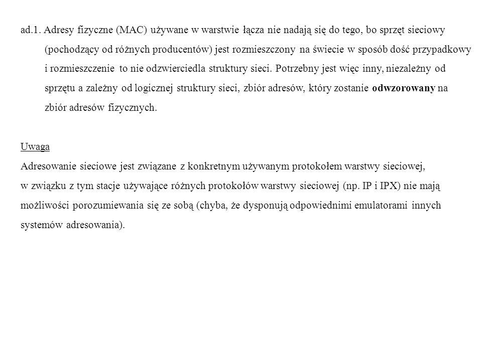 ad.1. Adresy fizyczne (MAC) używane w warstwie łącza nie nadają się do tego, bo sprzęt sieciowy